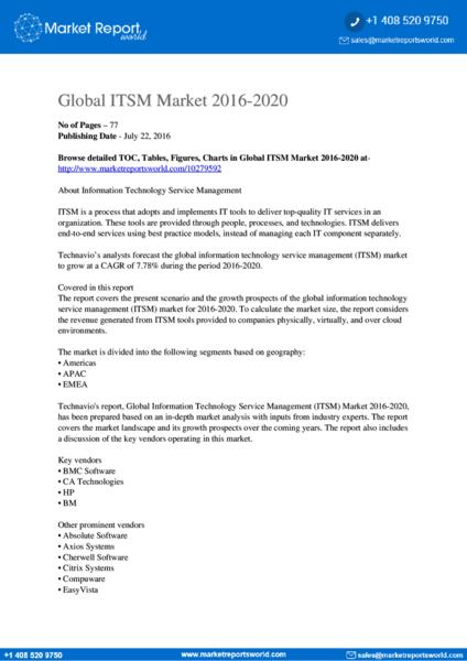 global itsm market 2014 2018 [report price $ 2500] 92 pages report on, global itsm market 2014-2018 by published technavio at bigmarketresearchcom.