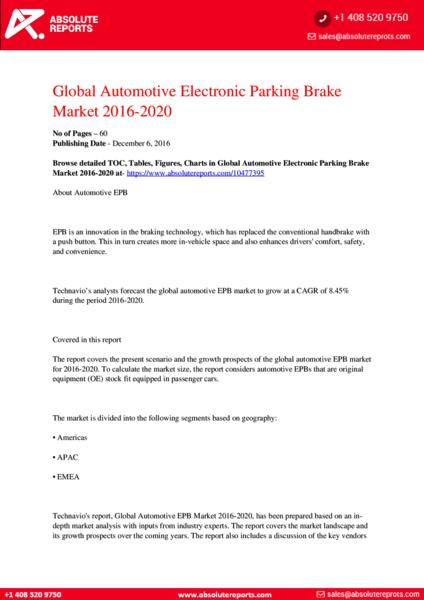 Automotive Electronic Parking Brake Market 2017-2021: Overview, Opportunities, In-Depth Analysis and Forecasts
