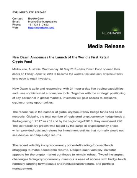 New Dawn Announces the Launch of the World's First Retail