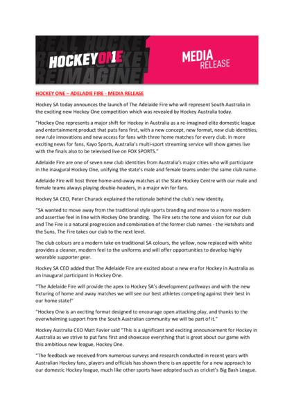 Hockey SA today announces the launch of The Adelaide Fire in